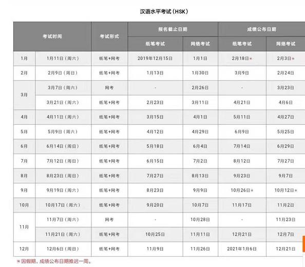HSK Calendar - Chinese Summer Camp 2020